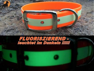 Biothane GLOW Warnhalsband Classic, Fluoriszierend, Breite: 25mm, versch. Farben