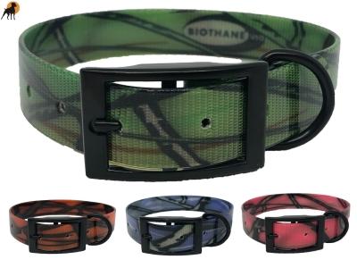 Biothane Camouflage Halsband Classic mit Dornschnalle Eckig, Breite: 25mm
