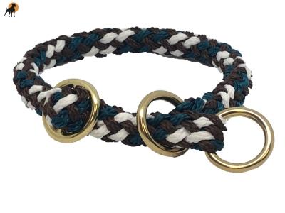 G1 Tauwerk Halsband Sport Messing15mm mit Zugstop, rund geflochten, Schoko-Minze