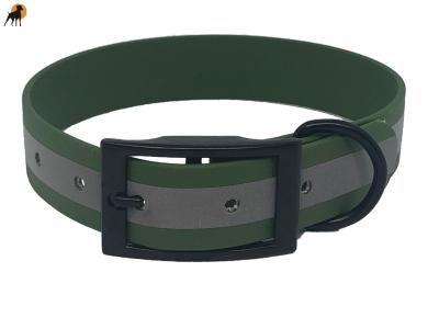 TPU Reflect Warnhalsband Classic, Dornschnalle eckig,Breite: 25mm, Olivgrün