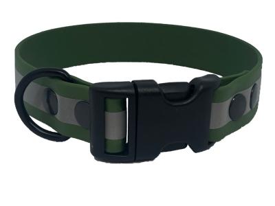 HWP TPU Reflect Halsband 25mm, mit PVC Verschluß, Olivgrün