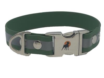 HWP TPU Reflect Halsband 25mm mit Alu-Verschluß, Oliv