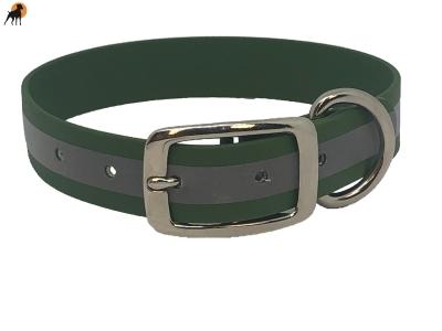 TPU Halsband Classic Reflect, Dornschnalle rund, Breite: 25mm, Oliv