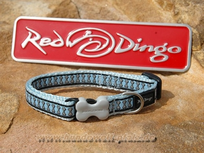 Red Dingo Halsband Reflecting Bones 12mm, Hellblau