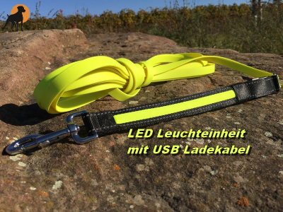 HWP Biothane Beta LED Trail-Leine 19mm x 7,5m, o.HS., mit USB Akku